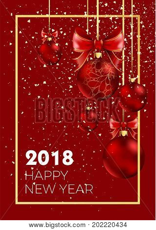 Happy New Year 2018 poster or greeting card of Christmas balls decoration on red background with snowflakes pattern and golden frame ornament. Vector design for New Year greeting card or winter sale