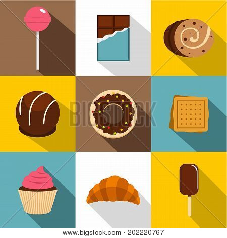 Sweets icon set. Flat style set of 9 sweets vector icons for web design