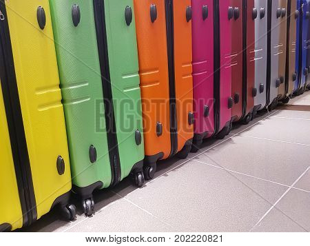 Many Suitcases For Sale In The Travel Accessories Store