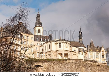 City wall and Ville Haute with Saint-Michel church, Luxembourg City