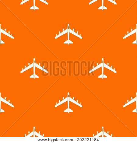 Armed fighter jet pattern repeat seamless in orange color for any design. Vector geometric illustration