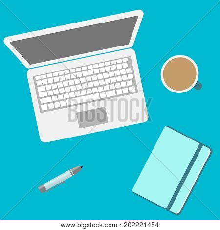 Laptop and notebook and office supplies top view. Vector flat icon with notebook, pc, pen, and a cup of hot coffee. illustration flat EPS10