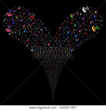 Space Antenna fireworks stream. Vector illustration style is flat bright multicolored iconic space antenna symbols on a black background. Object fountain constructed from random symbols.