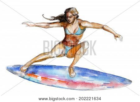 The girl on surfboard watercolor illustration isolated on white background.