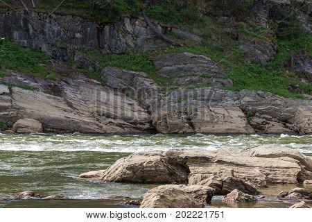 Landscape with water flow. Krasnoyarsk territory, Russia