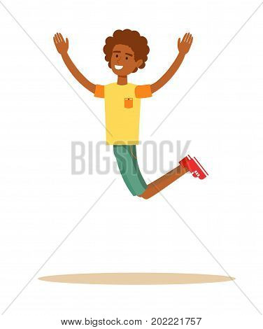 african man dancer dancing. Active guy jumping in joy, isolated on white. Stock flat vector illustration.