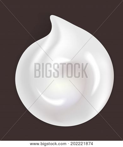 Round shiny white cream smear isolated realistic vector illustration on dark maroon background. Cosmetical means for skin beauty small sample on flat surface. Glossy white substance residue.