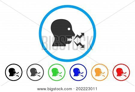 Angry Person Shout vector rounded icon. Image style is a flat gray icon symbol inside a blue circle. Bonus color variants are grey, black, blue, green, red, orange.