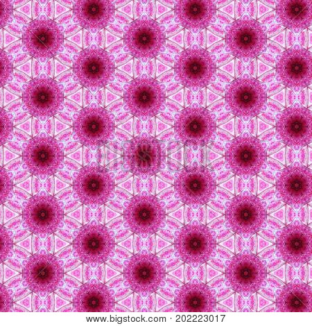 Abstract kaleidoscopic texture or background pattern design made from pink leaf