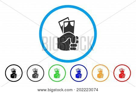 Banknotes Salary Hand vector rounded icon. Image style is a flat gray icon symbol inside a blue circle. Bonus color versions are gray, black, blue, green, red, orange.