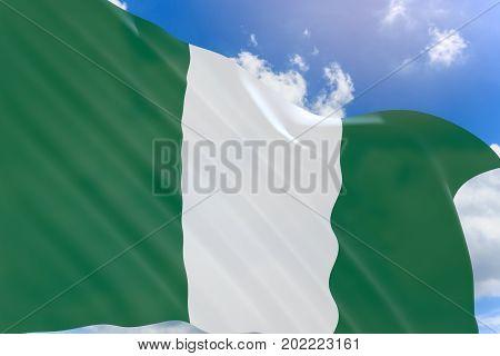 3D Rendering Of Nigeria Flag Waving On Blue Sky Background