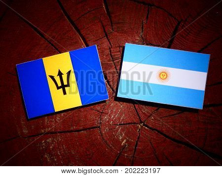Barbados Flag With Argentinian Flag On A Tree Stump Isolated