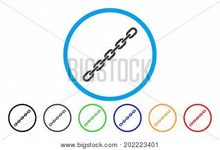 Chain vector rounded icon. Image style is a flat gray icon symbol inside a blue circle. Bonus color variants are grey, black, blue, green, red, orange.