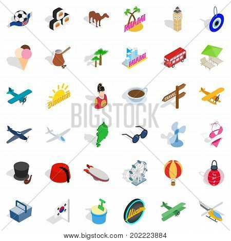 Miami icons set. Isometric style of 36 miami vector icons for web isolated on white background