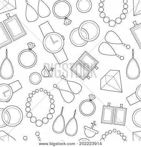 Seamless Pattern Background With Simple Jewelry Icons Line Art On White Background