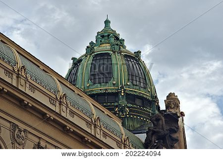 Cupola of Municipal house in Prague historic