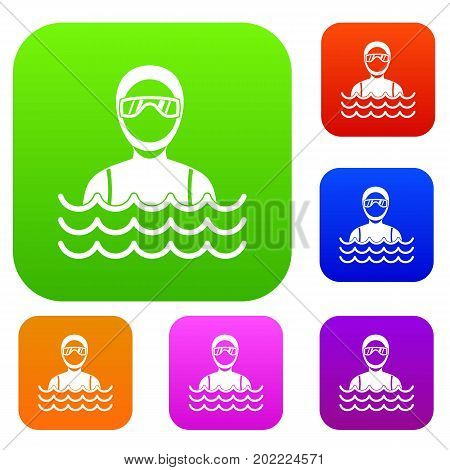 Scuba diver man in diving suit set icon in different colors isolated vector illustration. Premium collection