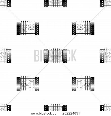 A fence of metal and bricks. A different fence single icon in black style vector symbol stock illustration .