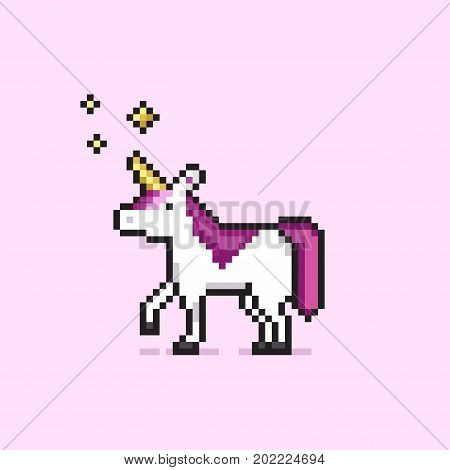 Pixel art unicorn with stars and quote. Eat glitter for breakfast and shine all day. Isolated on white background. Colorful pixel art design and print for t-shirt, cards, posters, invitations.
