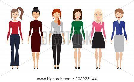 Set of woman dresscode flat icons vector illustration. Women flat icons on white background