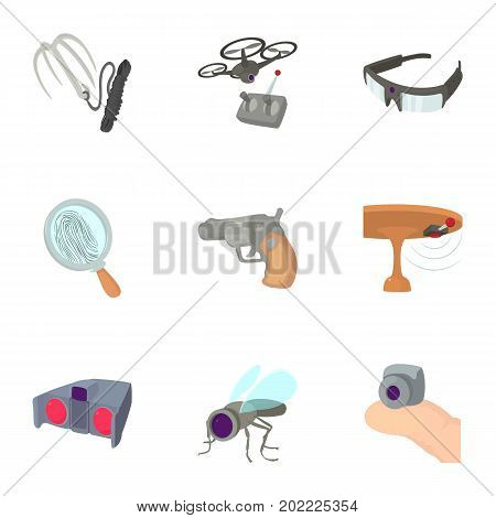 Secret agent equipment icons set. Cartoon set of 9 secret agent equipment vector icons for web isolated on white background