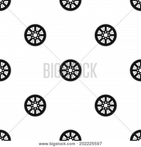 Sprocket from bike pattern repeat seamless in black color for any design. Vector geometric illustration