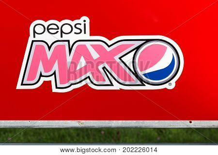 Aggersund, Denmark - August 23, 2017: Pepsi max logo on a wall. Pepsi max is a low-calorie, sugar-free cola, marketed by PepsiCo