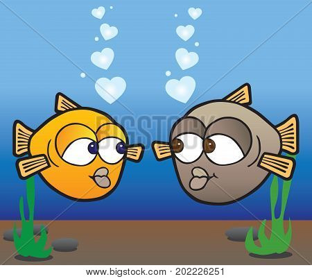 Two cartoon fish in love admiring each other