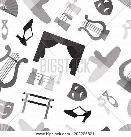 Seamless pattern background with simple monochrome theater and ballet symbols flat icons on white background vector illustration