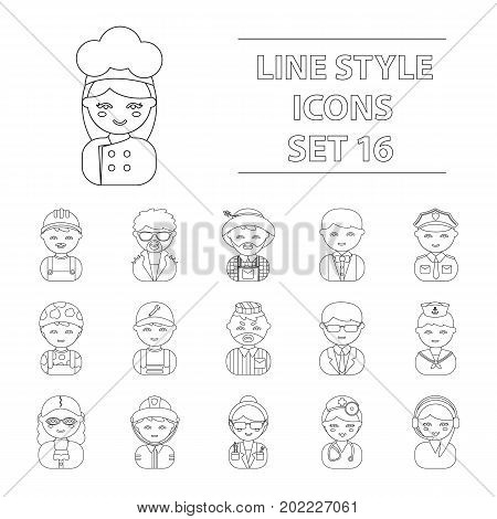Proffesion set icons in flat style. Big collection proffesion vector symbol stock