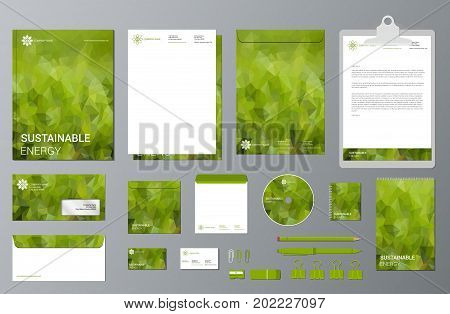 Corporate identity template set. Business stationery mock-up. Branding design. Green geometric stationery template design with polygonal elements. Sustainable energy. EPS10.