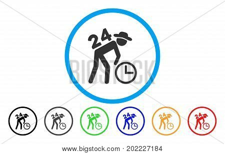 Around The Clock Working Gentleman vector rounded icon. Image style is a flat gray icon symbol inside a blue circle. Additional color variants are grey, black, blue, green, red, orange.