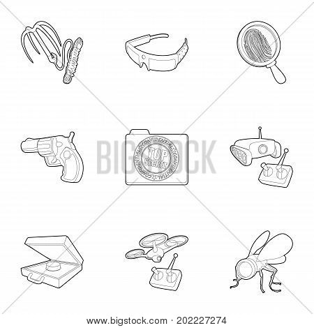 Spy agent icons set. Outline set of 9 spy agent vector icons for web isolated on white background