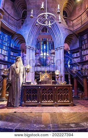 The Set Of Dumbledores Office At Hogwarts, Leavesden, Uk