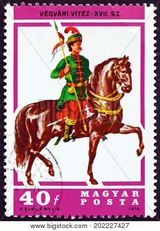 HUNGARY - CIRCA 1978: a stamp printed in Hungary shows Lancer 17th Century circa 1978