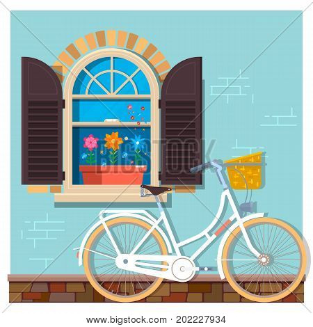 White bicycle near the building facade with a window.Street building facade of the house with bicycle. Front shop for design banner or brochure. Flat vector illustration