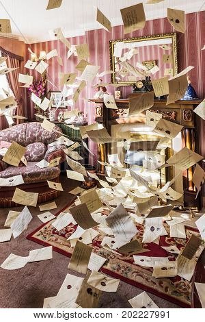 The Set Of The Living Room At 4 Privet Drive With Flying Letters