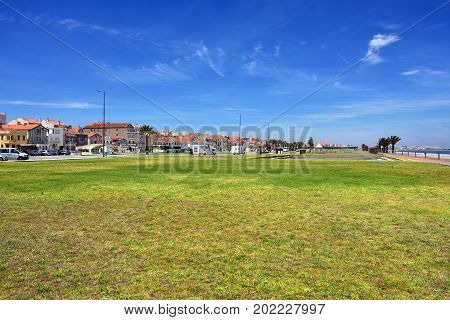 Costa Nova, Portugal - June 10, 2017:  Famous resort on the Atlantic coast in Beira Litoral Portugal. Popular tourist destination to spend vacation time