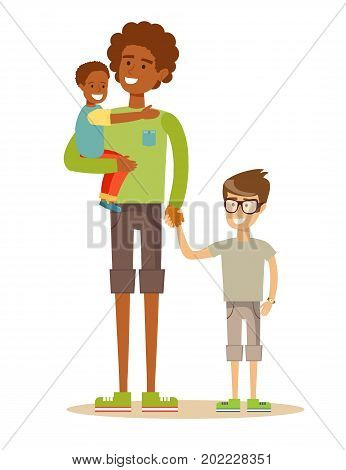 father with his two children having a nice time. Mixed race family. Cartoon illustration, vector.