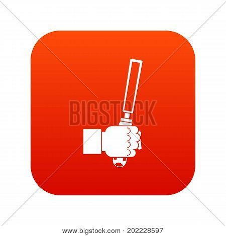 Chisel tool in man hend icon digital red for any design isolated on white vector illustration