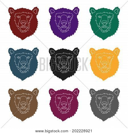 Brown bear muzzle icon in black design isolated on white background. Russian country symbol stock vector illustration.