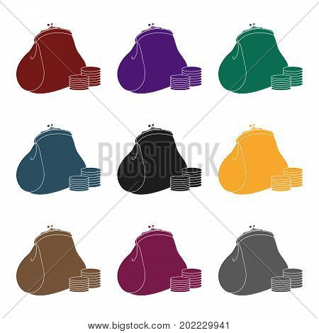 Purse with coins icon in black design isolated on white background. Supermarket symbol stock vector illustration.