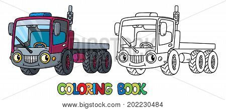 Thuck or Lorry coloring book for kids. Small funny vector cute car with eyes and mouth. Children vector illustration