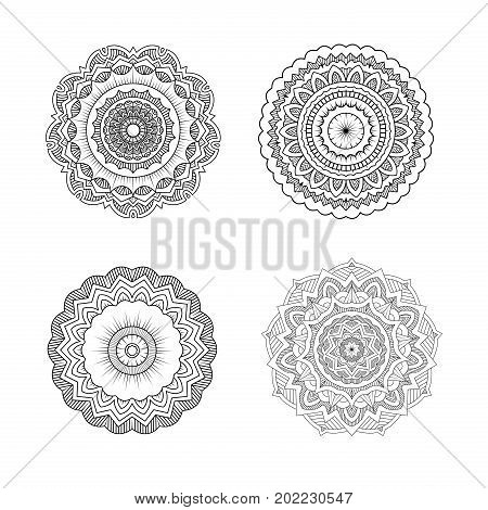 Set Of Circular Symmetric Mandalas. Clean Flower Ornament Line Art Design For Adult Coloring Book.