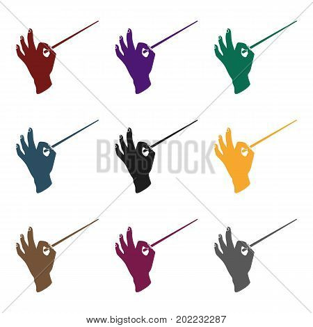 Conductor orchestra icon in  black style isolated on white background. Theater symbol vector illustration
