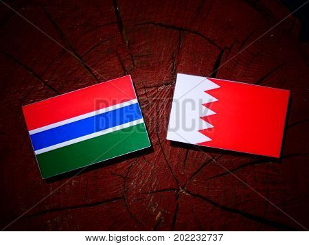 Gambia Flag With Bahraini Flag On A Tree Stump Isolated