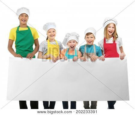 Group of children with blank poster on white background. Concept of cooking classes