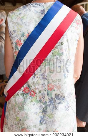 Woman French Mayor With A Scarf Flag In Ceremony