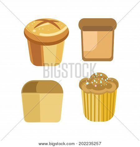Bakery bread or pastry sorts of white wheat toast bread or rye bagel, cake or cupcake muffin or pie. Vector flat isolated bread icons set for baker shop or grocery store and patisserie