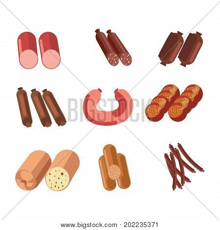Sausages sorts icons for meat gastronomy or butcher shop delicatessen products. Pork pepperoni or beef salami and frankfurter bacon sausage or smoked brat wurst. Vector isolated flat icons